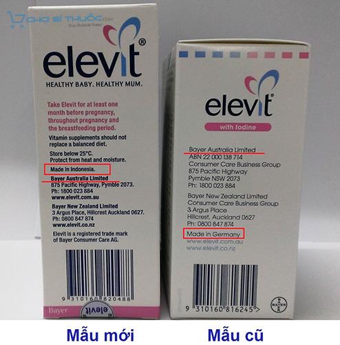 Mặt bên của Elevit mẫu mới so với mẫu cũ