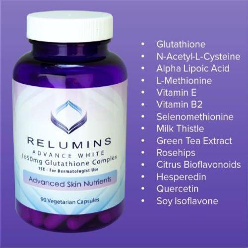 relumins advance white 1650mg glutathione complex