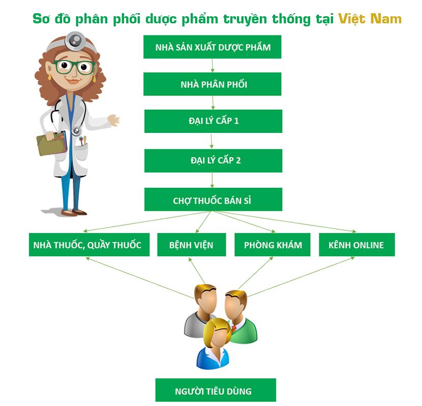 Sơ đồ phân phối dược phẩm truyền thống tại Việt Nam