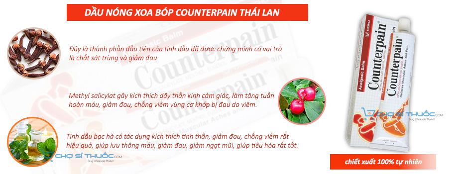 Thành phần chính Dầu nóng xoa bóp Counterpain Thái lan