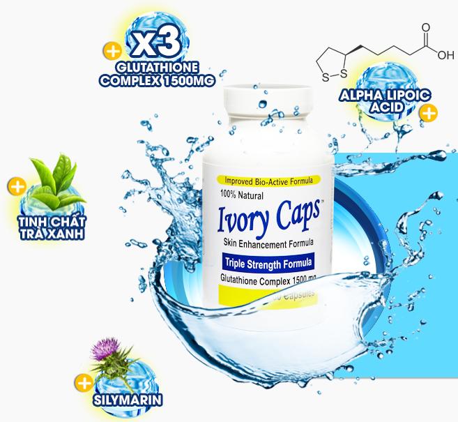 thành phần chính của Ivory Caps gồm Glutathione, Alpha Liopic Acid, Silymarin, Trà xanh