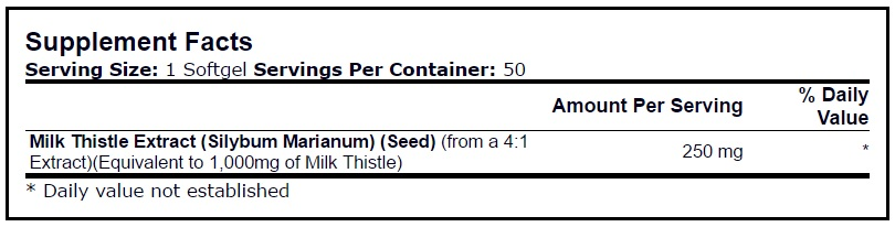Thành phần chínhNature\'s Bounty Silymarin Milk Thistle 1000mg